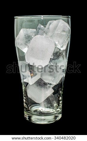 ice in glass on black background