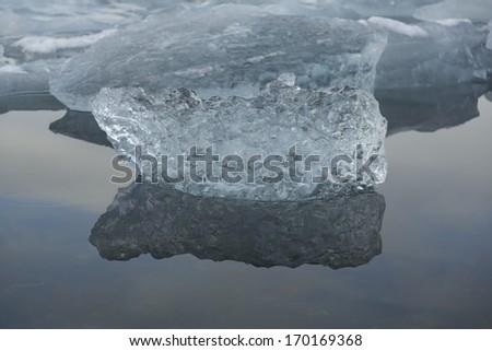 Ice in Jokulsarlon Lagoon - stock photo
