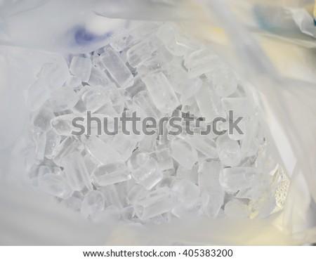 Ice in plastic bag. - stock photo