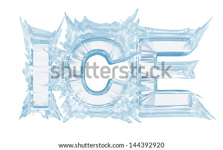 Ice inscription Isolate on white.With clipping path  - stock photo