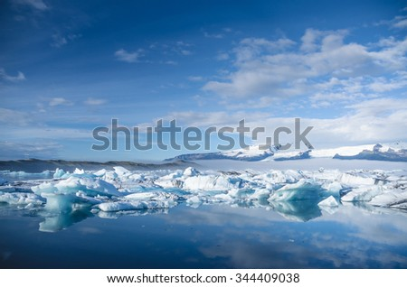 Ice lagoon with pieces of glacier floating around