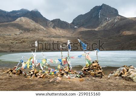 Ice Lake on a Annapurna Circuit - most popular turists trek in Himalayan mountain massive in Nepal. - stock photo