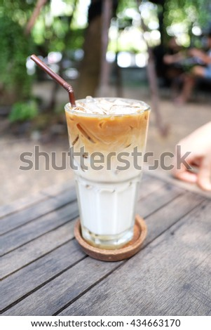 Ice latte milk coffee, from Hey53 cafe, Bangkok, Thailand - stock photo