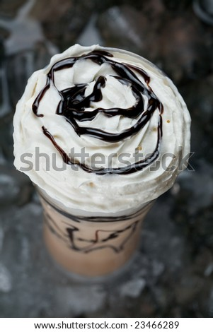 ice latte top view - stock photo