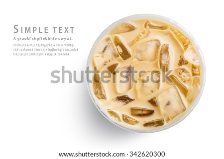 Ice latte top view close up on white background and clipping paths - stock photo