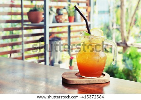 ice lemon tea juice  - stock photo
