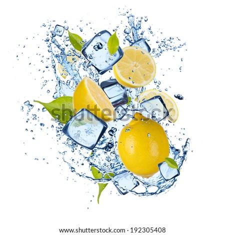 Ice lemons isolated on white background - stock photo