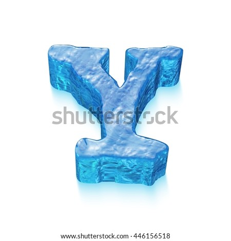 Ice Letter isolated on white background. 3D rendered illustration.