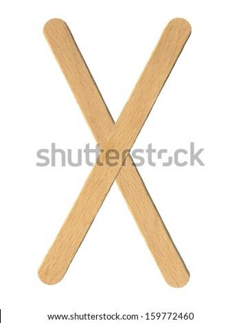 ice lolly sticks, ice cream sticks, isolated  - stock photo