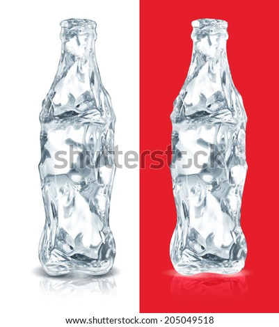 Ice made cola bottle on red and white backgrounds - stock photo