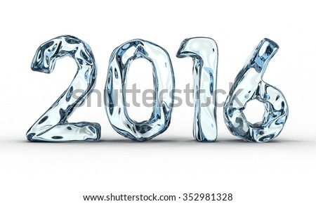 Ice new year number 2016. Isolated on white - stock photo