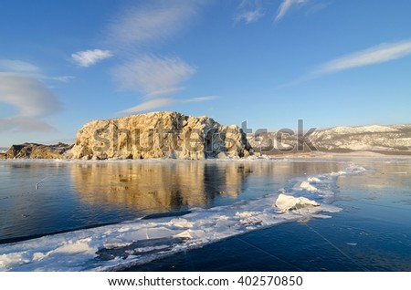 Ice of lake Baikal, Oltrek island, Russia - stock photo