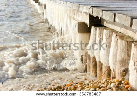 Ice on a footbridge at the lake Neusiedl, Burgenland.