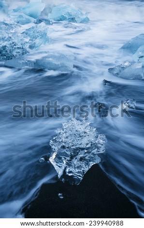 Ice on J�¶kulsarlon beach, Iceland - stock photo
