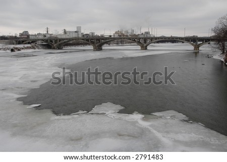 Ice on the Cedar River, downtown Cedar Rapids, Iowa