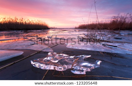ice on water - stock photo