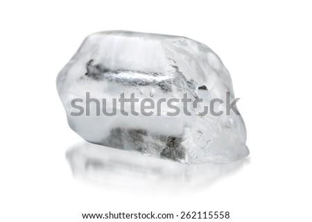 Ice on white background, Free space. - stock photo