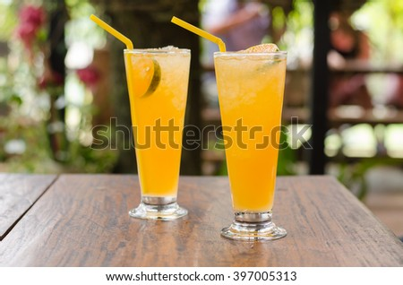Ice orange juice in glass