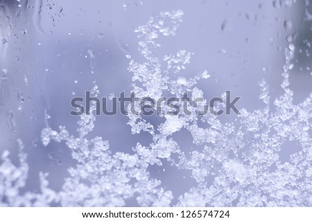 Ice painting on the glass - winter time - stock photo