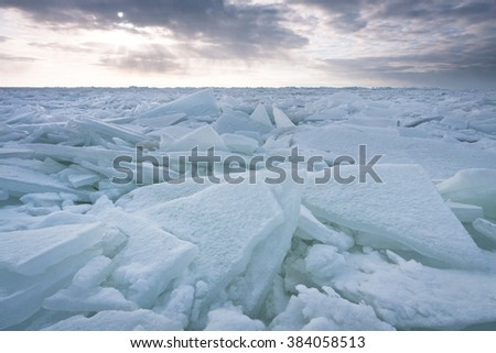 ice piles in baltic sea
