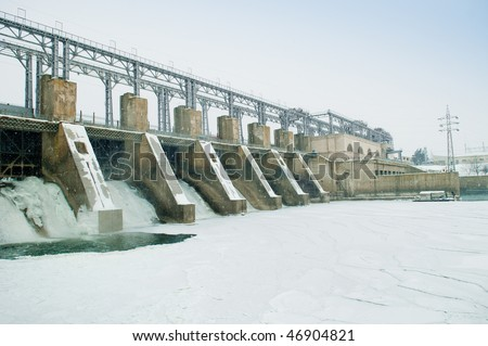 Ice plate on water dam - stock photo