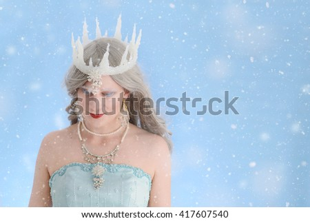 ice queen with snow - stock photo