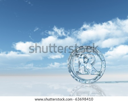 ice registered trademark symbol under cloudy blue sky - 3d illustration - stock photo