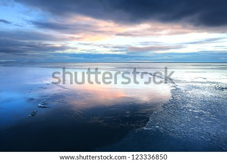 Ice shapes in the east fjords iceland at sunset in winter