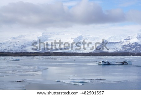 ice sheet on the water with snow mountain background in Iceland