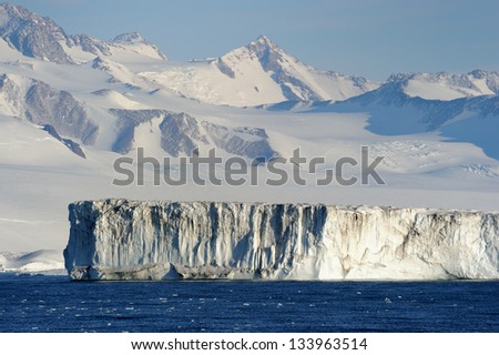 Ice shelf at Antarctica. - stock photo