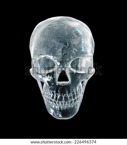 Ice sinister human skull - stock photo
