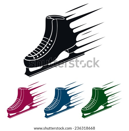 Ice Skate Icon, Speed Concept Illustration - stock photo
