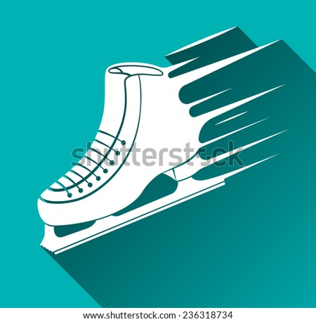 Ice Skate Icon, Speed Concept, Long Shadow Illustration - stock photo