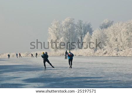 Ice-skating in the Alblasserwaard - stock photo