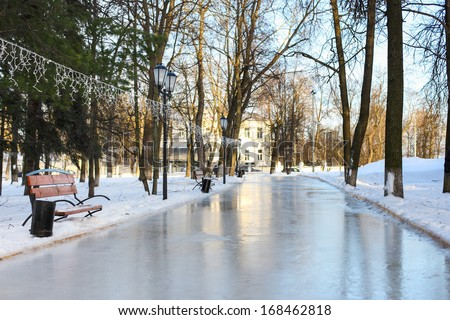ice-skating in the park - stock photo
