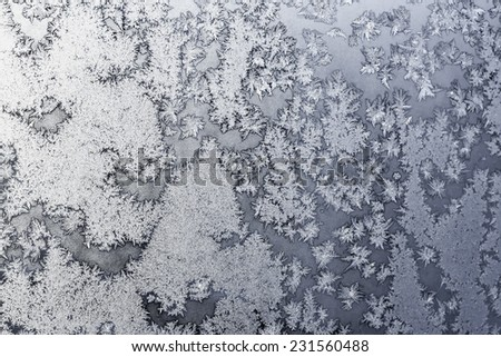 Ice snowflakes and frost pattern on frozen Christmas winter window. Colored in gray or silver tone. Selective focus at center with blur edges of image - stock photo