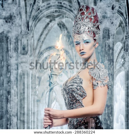 Ice sorceress in her castle - stock photo