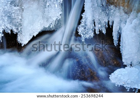 Ice structure on winter river, nature. - stock photo