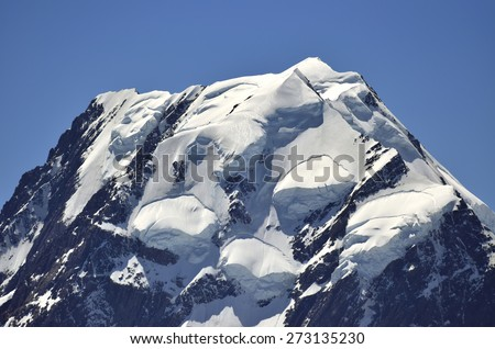 Ice summit of mount Cook in New Zealand Southern Alps. - stock photo