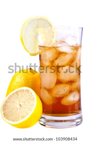 ice tea and lemons isolated on a white background