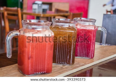 Ice tea in mug on wood background