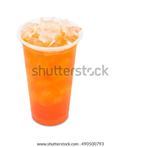 ice tea red plum in takeaway glass isolated on white background with clipping path
