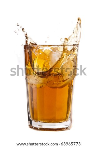 Ice tea splash - stock photo