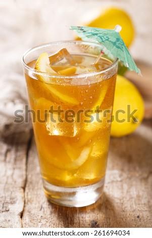 Ice tea with lemon - stock photo