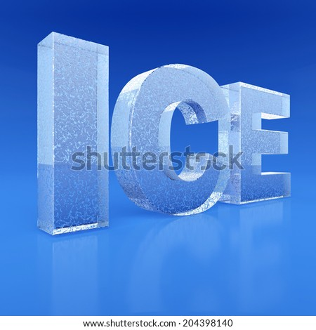 Ice text. 3d render illustration - stock photo