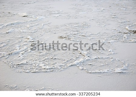 Ice texture on the surface of the river