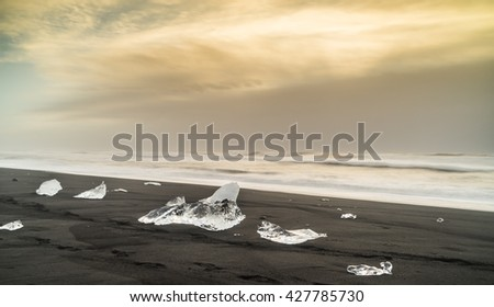 Ice Views around black sand beach  Iceland, Northern Europe in winter with snow and ice