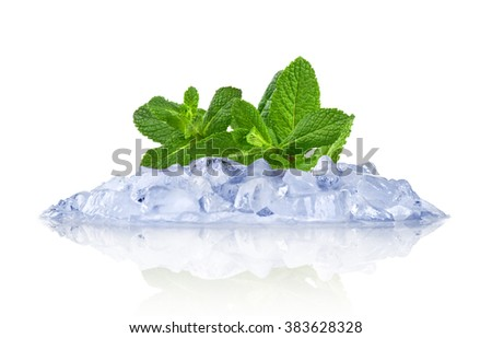 Ice with mint isolated on white - stock photo