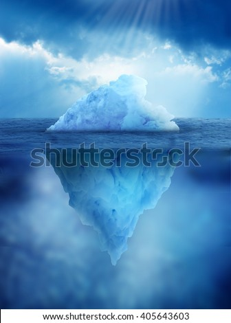 Iceberg, above and below water's surface