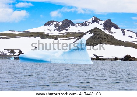 iceberg and mountain snow at Antarctica